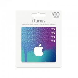 بطاقة ايتونز ٦٠ دولار (متجر أمريكي) - إرسال فوري للرمز (prepaid_card)