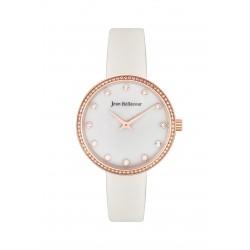 ساعة جين بليكور نسائية  جلد عرض تناظري بحجم 34 ملم (JBP1919) - أبيض