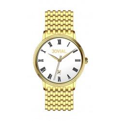ساعة جوفيال الرجالية بعرض تناظري – سوار معدني – ذهبي