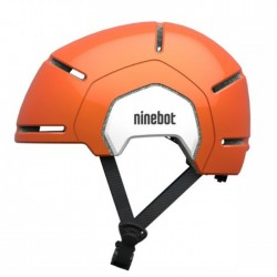 Segway Kickscooter Kids Commuter Helmet Orange air holes spin dial and strap side view