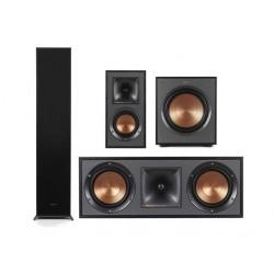 مكبر الصوت العمودي الأرضي (R-620F) + مكبر الصوت لأرفف الكتب (R-41M) + مكبر الصوت مركزي القناة من كليبش (R-52C)  + مضخم صوت كليبس ١٠ بوصة بقوة ١٥٠ واط  (R-100SW) من كليبش - أسود