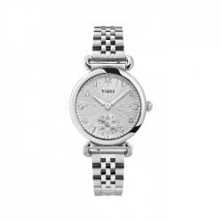 ساعة تايمكس النسائية بعرض تناظري 33 ملم و حزام معدني -  (TW2T88800)