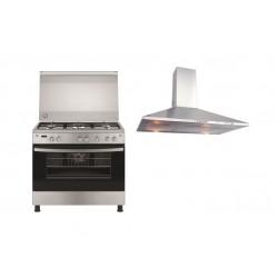 طباخ الغاز القائم فريجداير ٥ شعلات - ٩٠ × ٦٠ + شفاط الطباخ من فريجيدير - ٩٠ سم