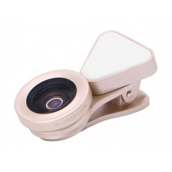 Liegi Wide Angle + Macro + LED Flash Phone Lens (LQ-035) - Black