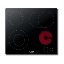 طباخ لوفرا الكهربائي مسطّح ومدمج - حجم ٦٠ سم – ٤ شعلات – أسود