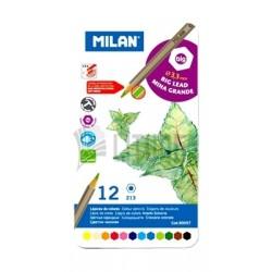 Milan Metal Box Big Lead Colored Pencils - 12 Colors