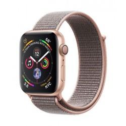 ساعة ابل الجيل الرابع - ٤٤ ملم - جي بي إس + خلوي - هيكل ذهبي من الألمنيوم مع حزام رياضي رملي وردي