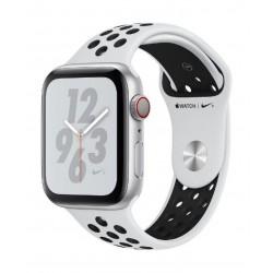 ساعة ابل الجيل الرابع - ٤٠ ملم - جي بي إس + خلوي - هيكل من الألمنيوم مع حزام رياضي أبيض