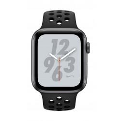 ساعة أبل نايكي بلس الجيل الرابع جي بي إس - ٤٤ ملم مع هيكل من الألومنيوم رمادي وحزام نايك الرياضي - أسود متفحم - MU6L2AE/A