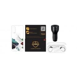 صندوق هدايا هواوي بي٣٠ مكون من (غطاء حماية لهاتف بي٣٠ , شاحن سيارة ، سماعات إيربود و بطاقة خدمة VIP)