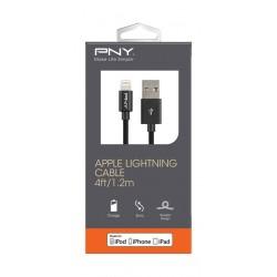 PNY 1.2 Meters Metallic Lightning Cable - Black