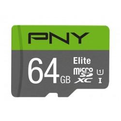 بطاقة ذاكرة PNY إليت مايكروSDXC سعة 64 جيجابايت من الفئة 10