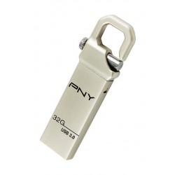 PNY Hook Attache 32GB High Speed USB 3.0 Flash Drive - Silver