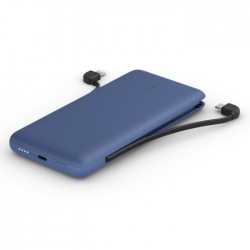 Belkin 10000mAh Power Bank with Integrated USB-C + Lightning Cables blue buy xcite kuwait