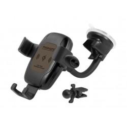 Promate AuraMount-BT 10W Qi Wireless Charging Auto Kit With Mono Earphone - Brown