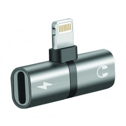 Promate iHinge-LT 2-in-1 Audio & Charging Adaptor with Lightning Connector - Grey