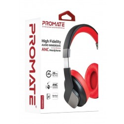 Promate TrueBeatsOn-Ear Wireless ANC Headphone - Red
