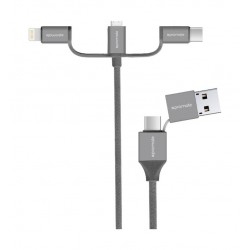 Promate UniLink-Trio2 3-in-1 Smart USB Cable - Grey