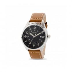 ساعة بوريلي كوارتز بعرض تناظري وحزام من الجلد للرجال - ٤٣ ملم - بني (20050665)