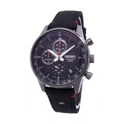 ساعة سيكو كوارتز للرجال بسوار من المطاط - أسود (SB315P)