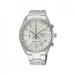 ساعة سيكو العصرية للرجال بحزام معدني و شاشة عرض تناظرية – 41.5 ملم - (SB375P1) -  فضي
