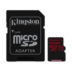 بطاقة الذاكرة ميكرو إس دي كانفاس ريكت يو إتش إس-I يو٣ - الفئة ١٠ + محول من كينجستون - ٢٥٦ جيجابايت