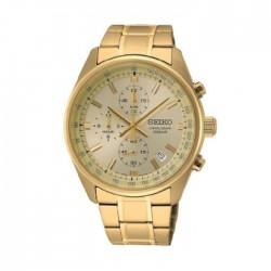ساعة سيكو العصرية للرجال بحزام معدني و شاشة عرض تناظرية – 41.5 ملم - (SB382P1) -  ذهبي