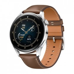 Huawei 46mm smart GPS Watch 3 Brown always on display rounded screen offer a classic look fully rotatable crown front facing left view