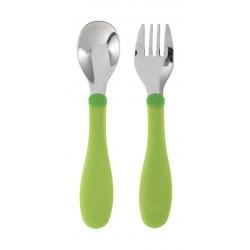 أدوات الطعام ستانليس ستيل للأطفال من عمر ١٨ شهر فأكثر من شيكو – أخضر