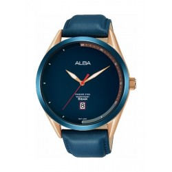 Alba 43mm Analog Gent's Leather Watch (AS9F55X1) - Blue