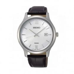 ساعة سيكو العصرية للرجال بحزام جلدي و شاشة عرض تناظرية - ٤٢ ملم - (SUR297P) - أسود
