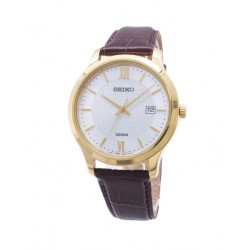 ساعة سيكو العصرية للرجال بحزام جلدي و شاشة عرض تناظرية - ٤٢ ملم - (SUR298P) - بني