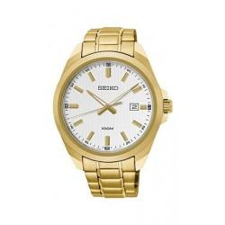 ساعة سيكو العصرية للرجال بحزام معدني و شاشة عرض تناظرية - ٤٢ ملم - (SUR280P) - ذهبي