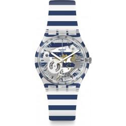 ساعة سواتش بعرض تناظري مع حزام من المطاط للجنسين - ٣٤ ملم - أبيض (SWAGE270)