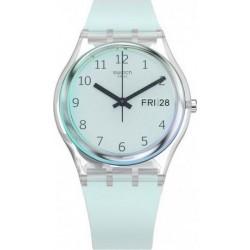 ساعة سواتش بعرض تناظري مع حزام من المطاط للجنسين - ٣٤ ملم - أزرق (SWAGE713)