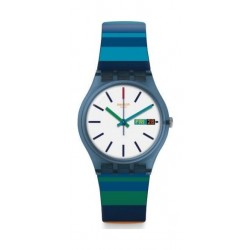 Swatch 34mm Unisex Analogue Rubber Watch (SWAGN724) - Blue
