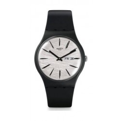 Swatch 41 mm Unisex Analogue Rubber Watch (SWASUOB726) - Black