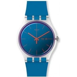 ساعة سواتش بعرض تناظري مع حزام من المطاط للجنسين - ٤١ ملم - أزرق (SWASUOK711)