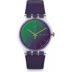 ساعة سواتش بعرض تناظري مع حزام من المطاط للجنسين - ٤١ ملم - بنفسجي (SWASUOK712)