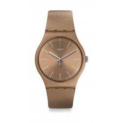 Swatch 41 mm Unisex Analogue Rubber Watch (SWASUOM111) - Beige