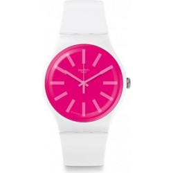 ساعة سواتش بعرض تناظري مع حزام من المطاط للجنسين - ٤١ ملم - أبيض (SWASUOW162)