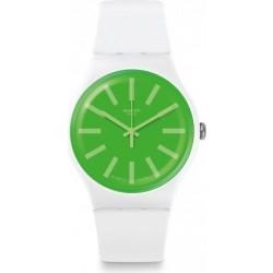 ساعة سواتش بعرض تناظري مع حزام من المطاط للجنسين - ٤١ ملم - أبيض (SWASUOW166)