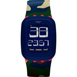 ساعة سواتش بعرض تناظري وحزام من المطاط للجنسين - ٣٩ ملم   - (SWASURR104)