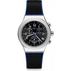 ساعة سواتش بعرض كرونوغراف وحزام من المطاط للرجال - ٤٣ ملم - أسود (SWAYVS451)