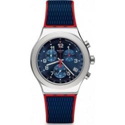 ساعة سواتش بعرض كرونوغراف وحزام من المطاط للرجال - ٤٣ ملم - أزرق (SWAYVS452)