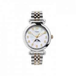 ساعة تايمكس النسائية بعرض تناظري 38 ملم و حزام معدني - (TW2T89600)