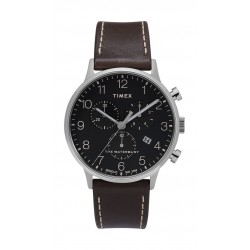Timex Waterbury Classic Chronograph 40mm Leather Strap Watch (TW2T28200) - Dark Brown