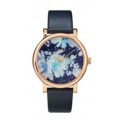 ساعة تايمكس كريستال بلوم بعرض تناظري وحزام من الجلد للنساء - ٣٨ ملم - أزرق (TW2R66400)