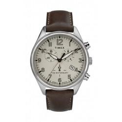 Timex 42mm Gents Leather Chronograph Watch (TW2R88200) - Dark Brown
