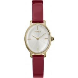 ساعة تايمكس بعرض تناظري وحزام من الجلد للنساء - ٢٤ ملم - (TW2R94700)